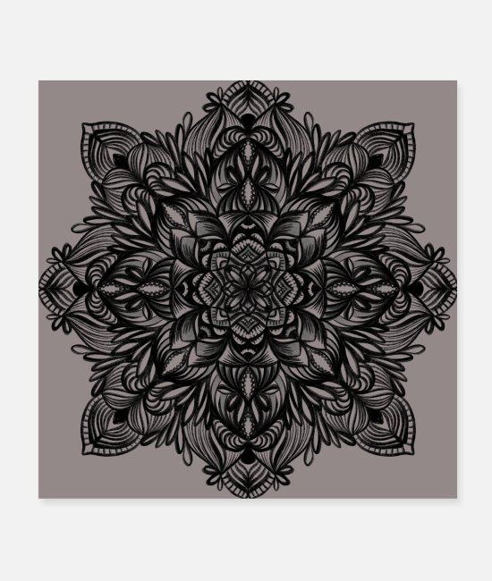 Flowers Posters - Nature Mandala - Posters white