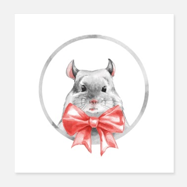 Bow Chinchilla with red bow - Poster
