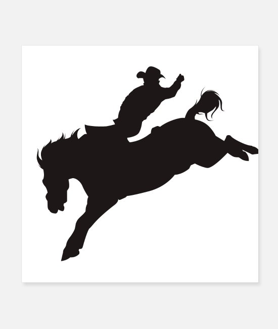 Riding Posters - Cowboy on Bucking Bronco - Posters white