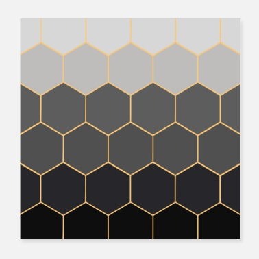 Grey Polygon pattern with grey gradient - Poster