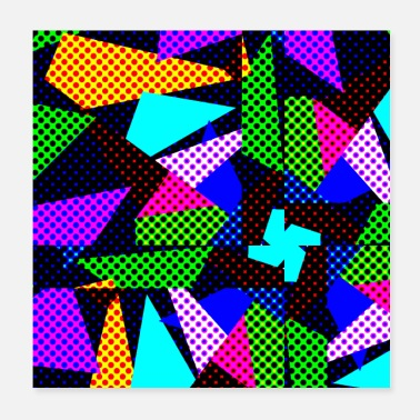 90s Crazy 80's disco colorful trippy blocks dotted - Poster