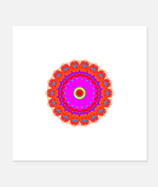 Symbol  Posters - Colorful Purple Flower Abstraction - Posters white
