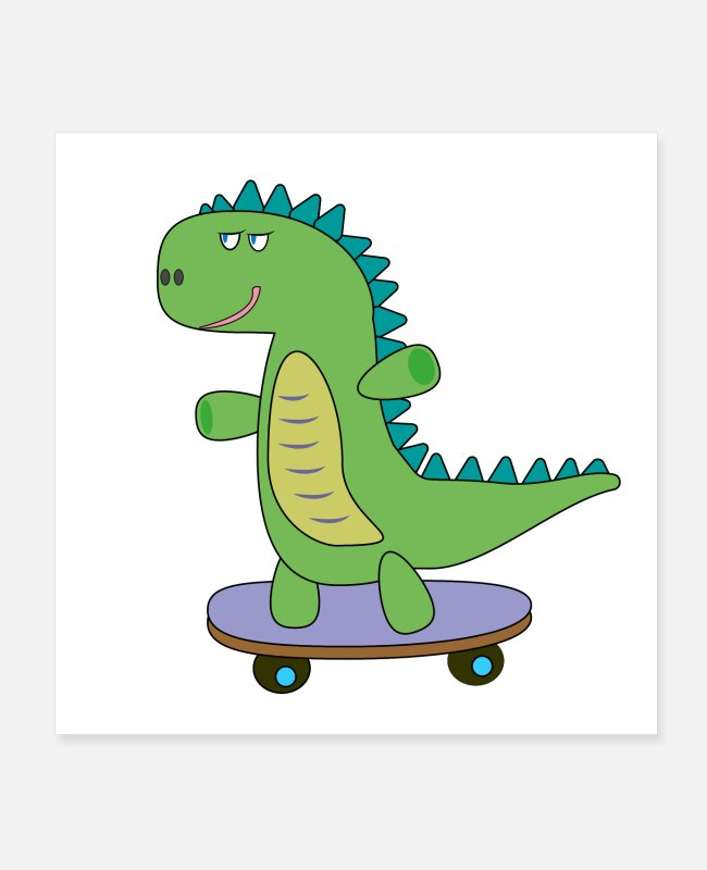 Dinosaurs Posters - dino skateboarding, cool, cute dinosaur for kids - Posters white