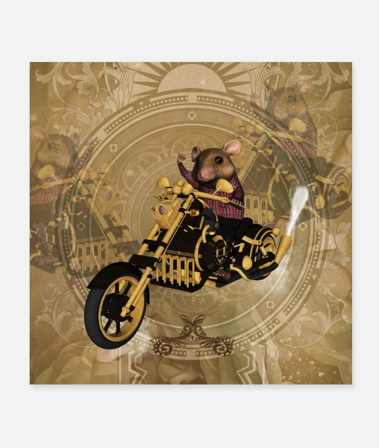 Motorcycle Posters - Funny mouse on a motorcycle - Posters white