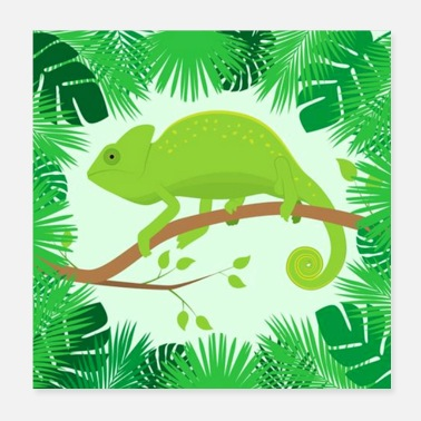 Raider Chameleon And Tropical Leaves - Poster