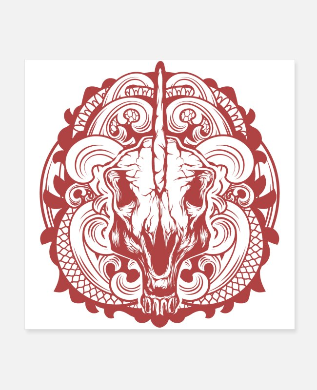 Pattern Posters - Unicorn Skull Ornate - Posters white