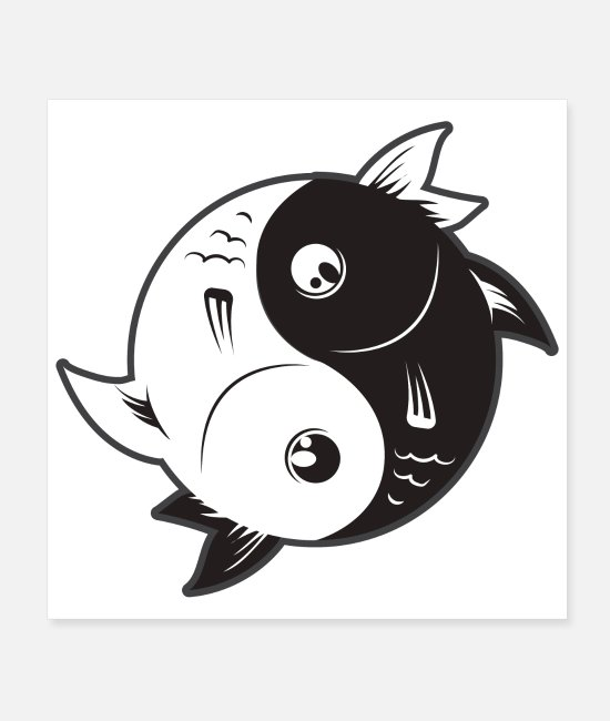 Friendship Posters - Yin Yang Fish Black and White - Gift Idea - Posters white