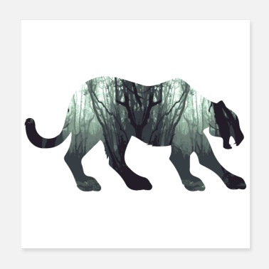 Leopard Double Exposure Animals Black Panther - Gift Idea - Poster