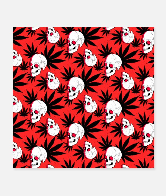 Drug Posters - Skull cannabis red pattern - Posters white
