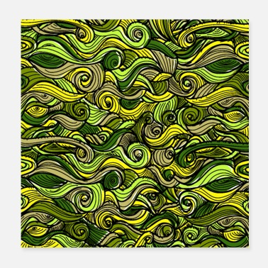 Tendril Pattern Snakes green plants plant pattern - Poster