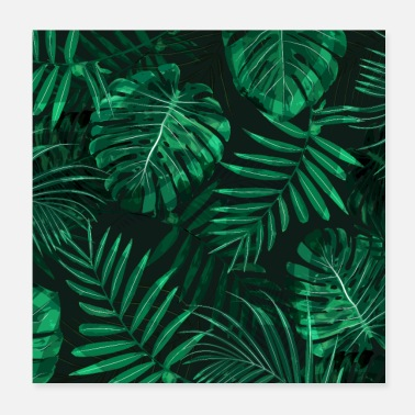 Leaves Tropical fern topped rainforest leaves - Poster