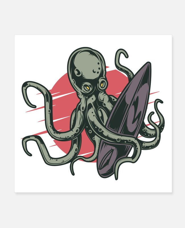 Art Posters - Surfing octopus - Posters white