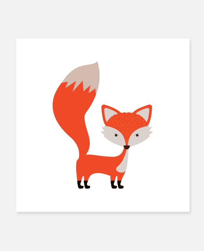 Foxes Posters - Fox cute motive - Posters white