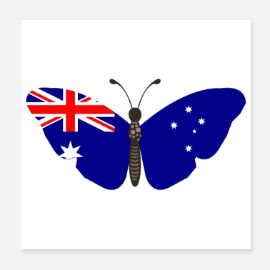 Flag Butterfly Australia Defaced Blue Ens - Gift Idea - Poster