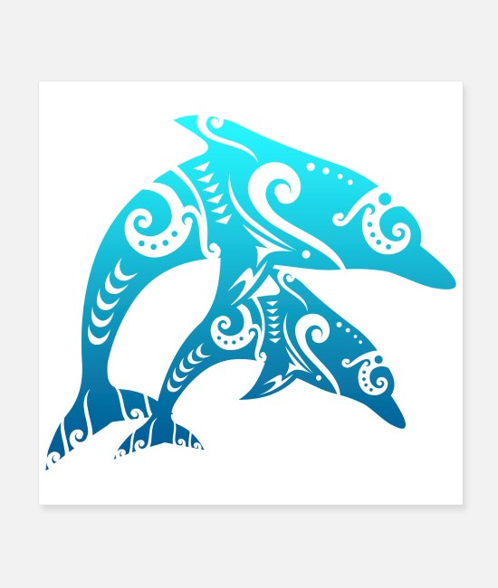 Friendship Posters - Maori Couple Dolphins Tribal Tattoo Blue Gift Idea - Posters white