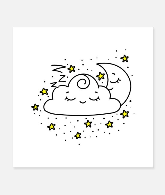 Design Posters - Cloud And Moon Hug - Posters white