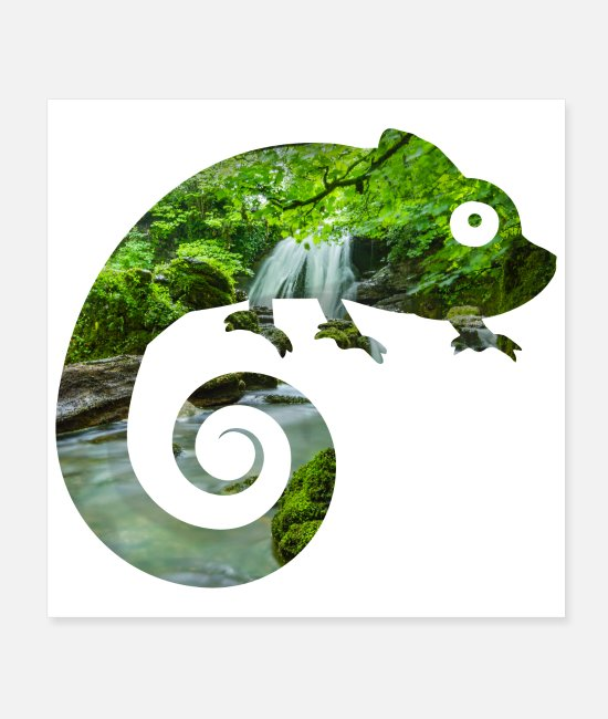 Eco Posters - Double Exposure Animals Chamaeleon - Gift Idea - Posters white