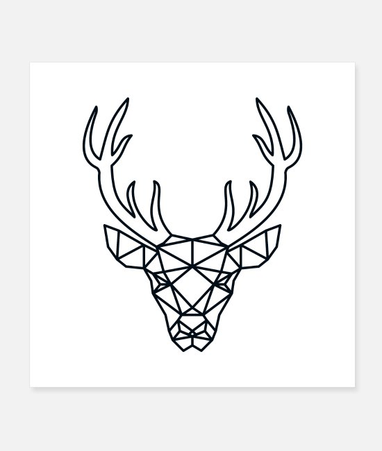 Stag Posters - Deer Outlines - Posters white