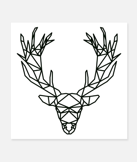 Stag Posters - Deer Polygon Outlines - Posters white