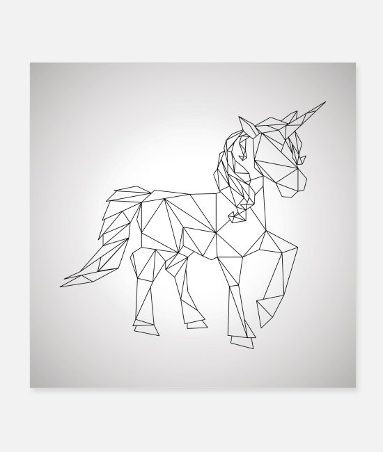Teenager Posters - unicorn geometric gallop cool gift idea low poly - Posters white