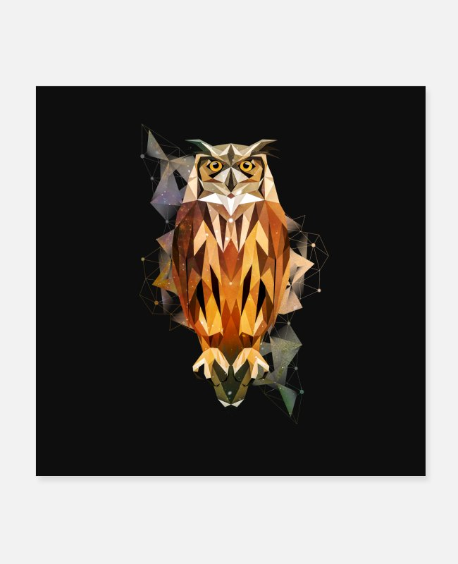 Night Posters - Owl Low-Poly-Style - Posters white