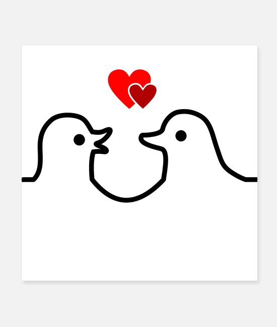 Heart Posters - Loving Ducks - Posters white