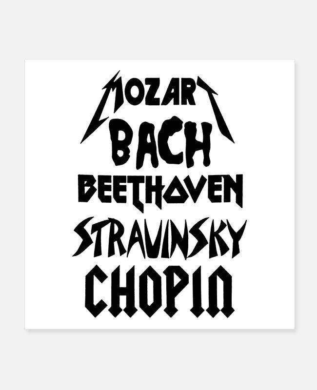 Composer Posters - Heavy Metal style Classical Composers - Posters white