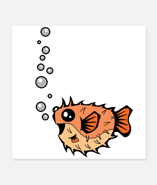 Puffer Fish Posters - Puffer Bubbles | Animal Series | DopeyArt - Posters white