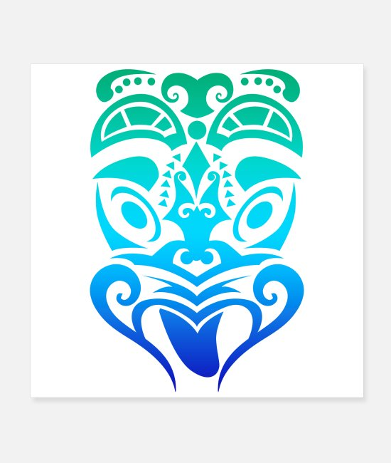 Design Posters - Maori Wheku Carved Face Tribal Tattoo - Gift Idea - Posters white