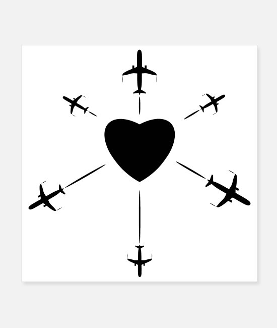 Travel Posters - Heart with some airplanes black - Posters white