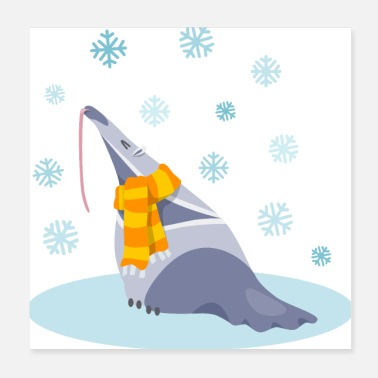 Snowy Cute snowy ant-eater - Poster