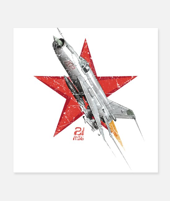 Airplane Posters - MIG 21 Russian Air Force - Posters white