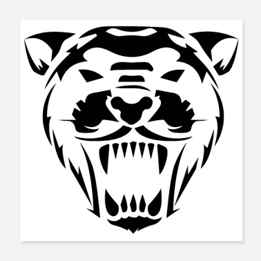 Black Cat Wild Animal Panther Head Roaring - Gift Idea - Poster