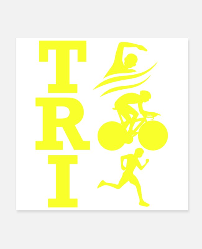 Training Posters - Triathlon TRI Swimming Cycling Running Gift Idea - Posters white