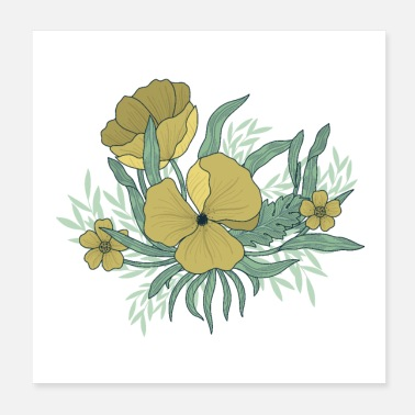 Illustration Illustrated Flowers - Poster