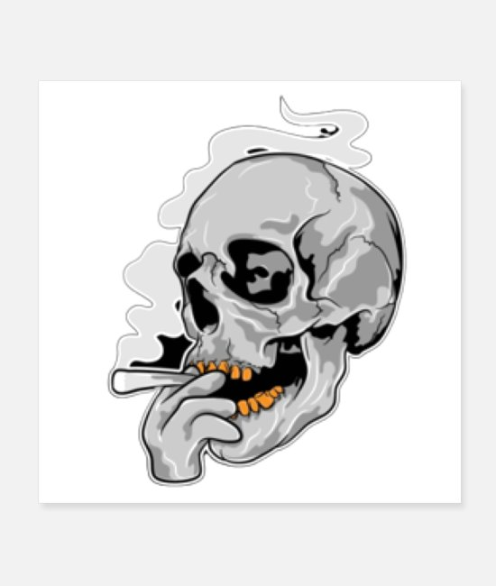 Fitnness Posters - Green Jaw Skull - Posters white