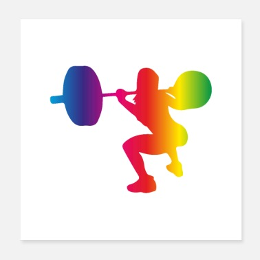 Squat Squat with barbell rainbow colours - Poster