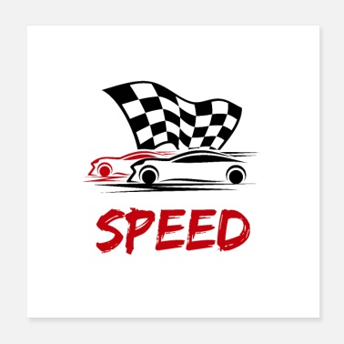 Racing Flags Speed - Race cars with race flag - Poster