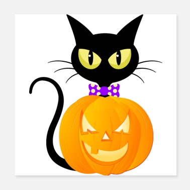 Pumpkin Pumpkin and Black Halloween Cat - Poster