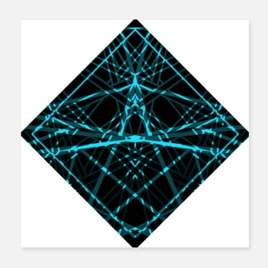Illustration Rhombus with turquoise ornament. #illustration - Poster