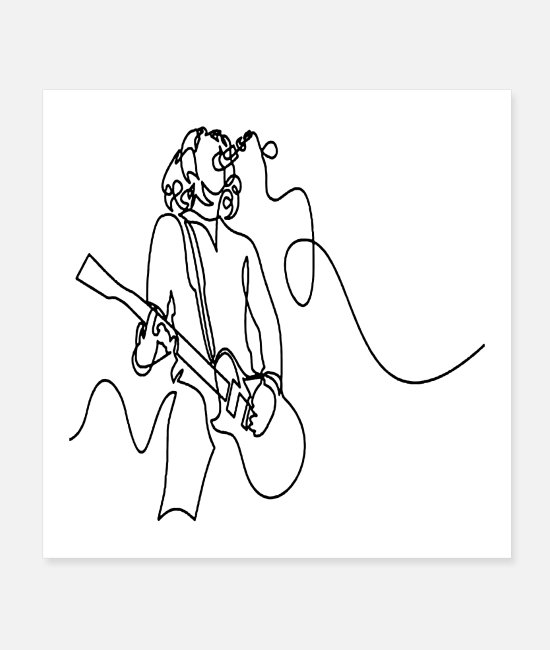 Line Dancing Posters - Rock Musician One Line Illustration - Posters white