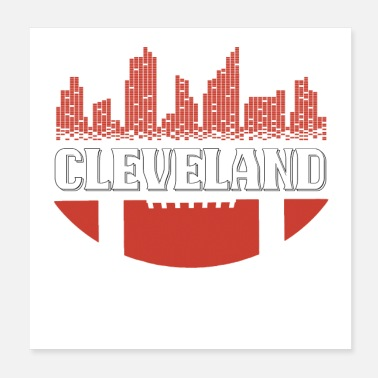 Downtown Downtown Cleveland Ohio Skyline Football T-Shirt - Poster