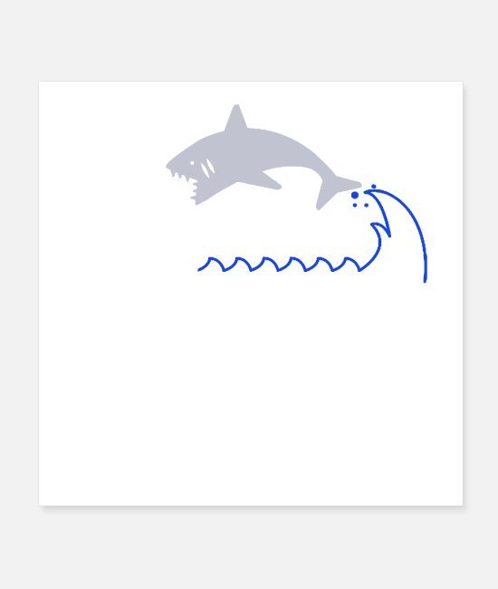 Shark Fin Posters - Summertime Shark Catching Running Humen At Beach - Posters white