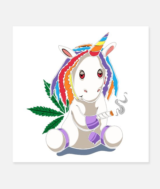Weed Posters - Joint Smoking Funky Unicorn Weed Cannabis Smoking - Posters white