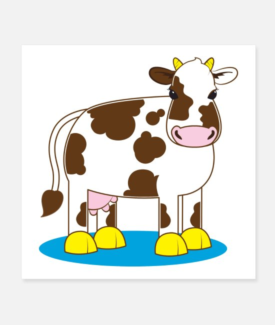 Dairys Posters - Cute moo cow cartoon - Posters white