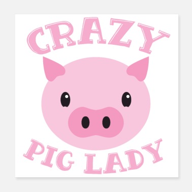 Sow Crazy pig lady pink cute round face! - Poster