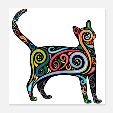 Cat Cat silhouette with colorful swirls - Poster