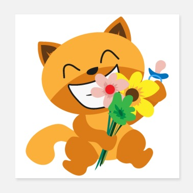 Cat Flower Cat Happy Sweet Cat Flowers Funny Gift Idea - Poster