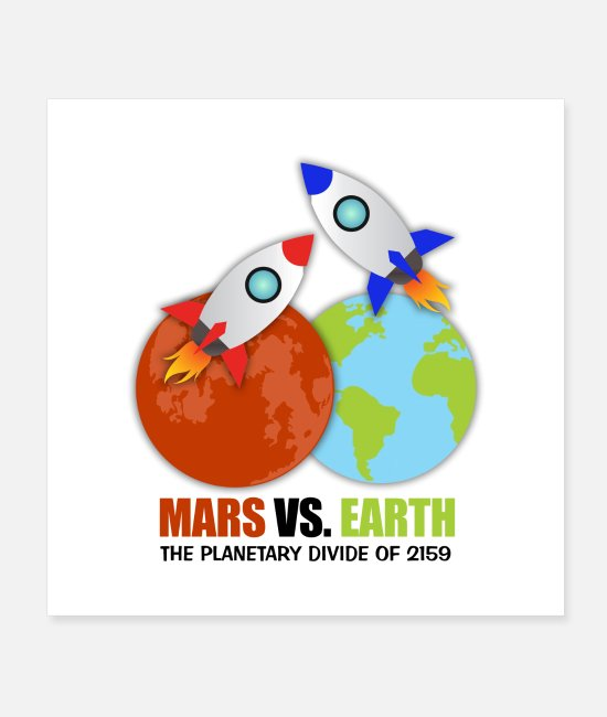 Space Posters - Mars vs. Earth - Posters white