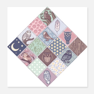 Barn Owl Patchwork Owls - Poster
